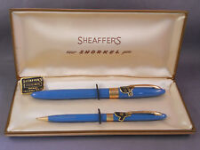 Sheaffer White Dot Blue Snorkel  Set -STICKERED--medium point-