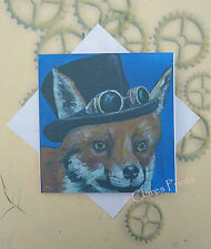 Steampunk Fox Art Card from Original Acrylic Painting Animal Top Hat Goggles