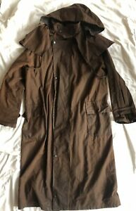 Waxed Cotton Riding Jacket Long Coat Hunting Fishing Steampunk M
