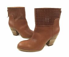 NWOB Nine West Hippychic Womens 8.5M Tan Brown Leather Cutouts Ankle Boots Heels