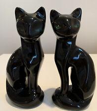 VINTAGE Black Ceramic SIAMESE PAIR OF CATS Figurines Sleek Green Eyes TAIWAN MCM