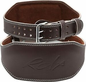 """RDX Leather 6"""" Weight Lifting Belt - Padded Lumbar Back Support - Brown 2XL XXL"""
