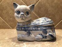Cat Trinket Box 2 Piece Blue & White Floral Design Kitten 5 inches Long Figurine