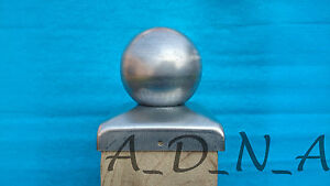 """100mm x100mm (4"""") GALVANISED SQUARE  METAL FENCE POST CAP TOP  WITH BALL 80mm"""
