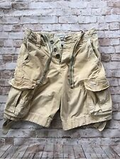 ABERCROMBIE AND FITCH MENS VINTAGE CARGO SHORTS SIZE 28 Tan Heavy Distressed