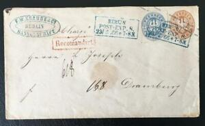 GERMANY. PRUSSIA. 1866. CIRC. CLASSIC UPRATED REGISTERED COVER. LOOK!