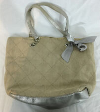 Beige and Silver Purse Handbag with Ribbon Embellishment 12 Inches