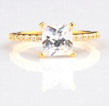 14KT Yellow Gold 3.20 Carat Princess Shape Solitaire Women's Engagement  Ring