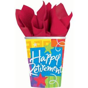 Happy Retirement Paper Cups 8ct Party Favor Party Decoration Supply