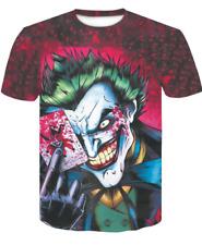 Poker Playing Card Joker 3D Men's Casual Short Sleeve T Shirt Graphic Tee Tops