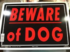 "1qty. Beware Of Dog Sign 10""x14"" Sturdy Aluminum Metal Signs Red Letters Hillman"