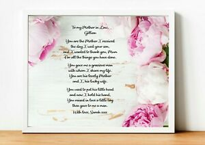 A4 PERSONALISED Wedding Poem Mother in Law from the Bride - Mother of the Groom