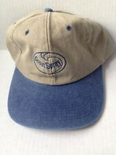 1980s 1990s OCEAN SPRAY BASEBALL CAP HAT, BUCKLE STRAP, KHAKI and BLUE, VINTAGE