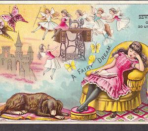 Victorian Fairy Tale Dream Castle 1800's New Home Sewing Machine Ad Fantasy Card