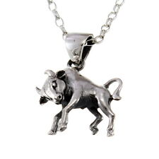 "Taurus Sterling Silver Star Sign - The Bull Zodiac Pendant with 18"" Chain & Box"