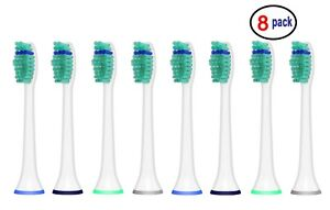 8 Sonic Replacement Toothbrush Heads for Philips Sonicare Proresults HX6014