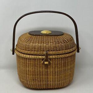 "Vintage ""Nantucket Mink"" Hand Woven Lightship Basket Handbag with Scallop Shell"