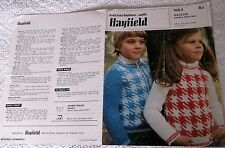 HAYFIELD KNITTING PATTERN No. 1063 CHILD'S SWEATER & ZIP FRONT CARDIGAN