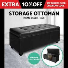 Fabric Bedroom Black Ottomans, Footstools & Poufs