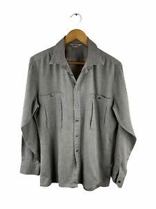 VINTAGE McGregor Button Up Shirt Mens Size S Grey Long Sleeve Pockets Collared