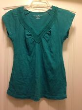 Eddie Bauer Womens Top - Small Jade Green V neck