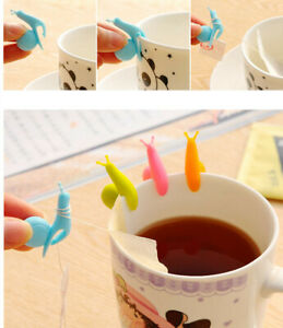 Tea Strainer Snail Shape 10 Pcs/Set Tea Bag Clip Silicone Tea Bag Holder Mug Cup
