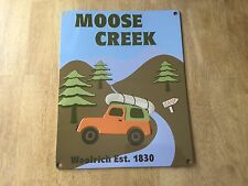 Moose Creek Camp 11 x 14 Woolrich Tin Sign