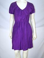 Max and Cleo Purple Pinstripe Short Sleeve V-Neck Dress Womens Size 2 XS