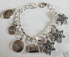 WISH UPON A STAR SILVER TONE HANDMADE CHARM BRACELET CHOICE 18-21CM