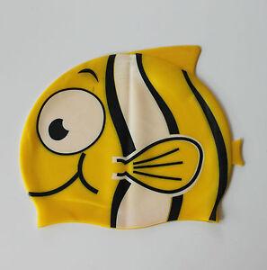 Learn to Swim Cap FISH silicone kids Boys Girls swimming cap bathing SMC05H
