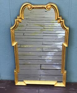 Beautiful Ornate Mid-20th Century Gold Giltwood  Mirror, Made in Italy, Labeled