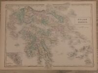 1854 GREECE LARGE HAND COLOURED ANTIQUE MAP 165 YEARS OLD BY SIDNEY HALL
