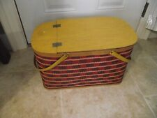 Vintage Hawkeye wicker/wood picnic basket. Burlington Basket Co.