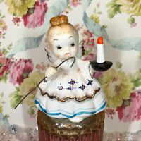 "Vtg Enesco Angel Girl ""I Will Light Your Way"" Easter Figurine Japan Wing Repair"