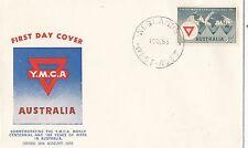 Stamp Australia 3&1/2d YMCA centennial issue on Guthrie FDC, unaddressed