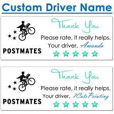 30 for Postmates Delivery Driver Bag Seal Stickers Thank You CUSTOM NAME