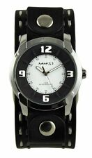Nemesis Mens Black/White Embossed Watch + Double Stitched Leather Cuff Band