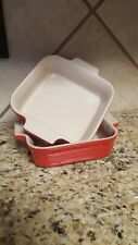 Le Creuset  2 Heritage Stoneware Square Baking Dishes 5'5in