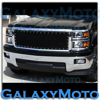 14-15 Chevy Silverado Chrome+Black Front Hood Complete Rivet Mesh Grille+Shell