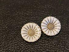 Denmark A Michelsen 925 Sterling Silver Enamelled Daisy Earrings Clips