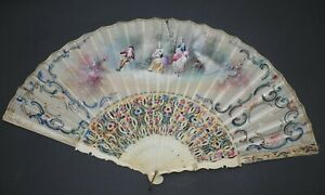 BEAUTIFUL ANTIQUE HAND PAINTED FLOWERS ROSES STICKS PAINTED SCENE SILK LEAF FAN