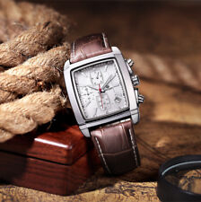 MEGIR Chronograph Date Men's Stainless Steel Mesh Net Leather Band Quartz Watch