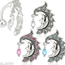 ~ 3 pack ~ Crescent Moon Face Stainless Steel Top Down Reverse Belly Navel Ring