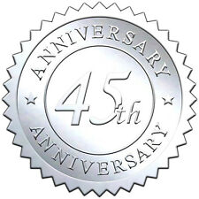 """Elegant SILVER embossed foil anniversry seals """"45th ANNIVERSARY"""" - 50 pack"""