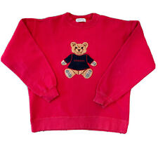 Burberrys Vintage Boys Long Sleeve Teddy Bear Sweater Pullover Color Red Size 9Y
