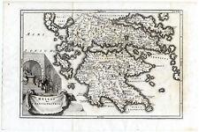 Antique map-ANCIENT GREECE-HELLAS-PELOPONESOS-Cellarius-1731