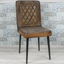 More details for rustic vintage industrial style chair brown quilted leather metal restaurant bar