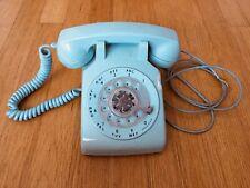 Vintage Aqua Blue Bell System Western Electric Rotary Desk Telephone-Phone -1963