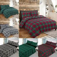 New Flannelette Duvet/Quilt Cover Set Check Thermal Brushed Cotton Flannel Sheet