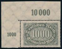 DR 1923, MiNr. 252 DD, Bogenecke tadellos postfrisch, gepr. Oechsner, Mi. 150,-